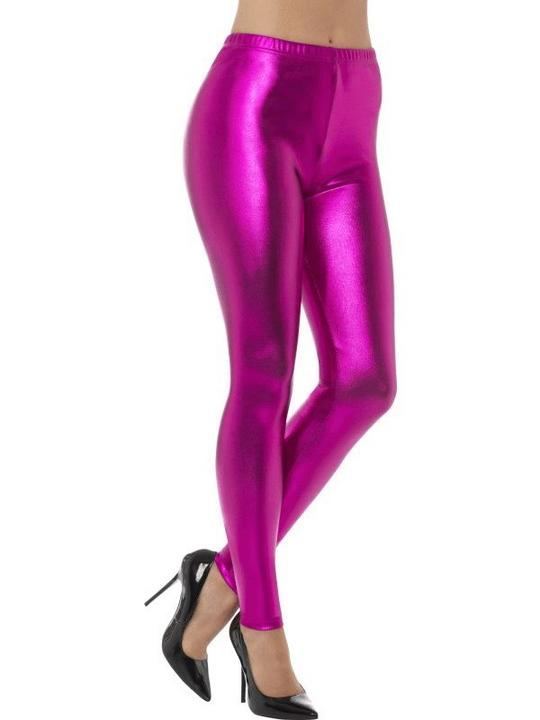 80's Metallic Disco Leggings Pink Women's Fancy Dress Costume Thumbnail 1