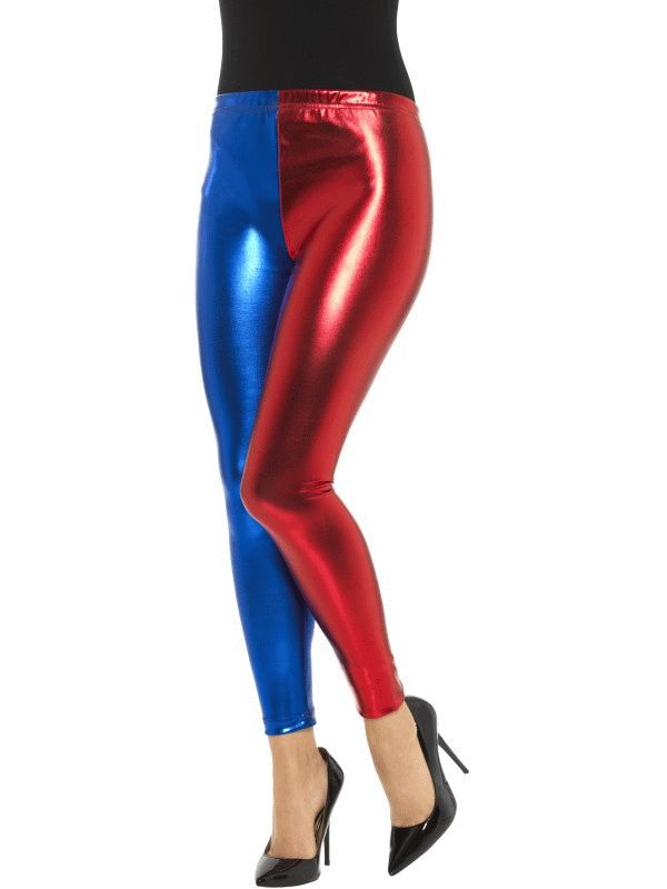 1980s POP Leggings Metallic Disco Ladies Fancy Dress Womens Costume Outfit Adult