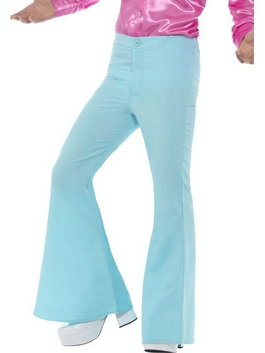 Flared Trousers Blue Mens Fancy Dress Costume Thumbnail 1