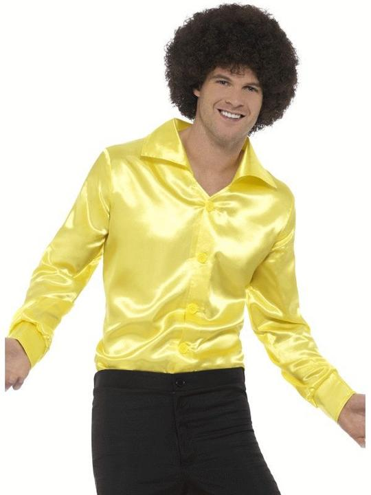 60's Shirt Yellow Fancy Dress Costume Thumbnail 1