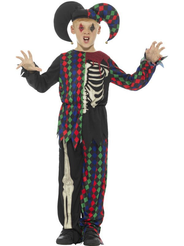Skeleton Jester Boy's Fancy Dress Costume