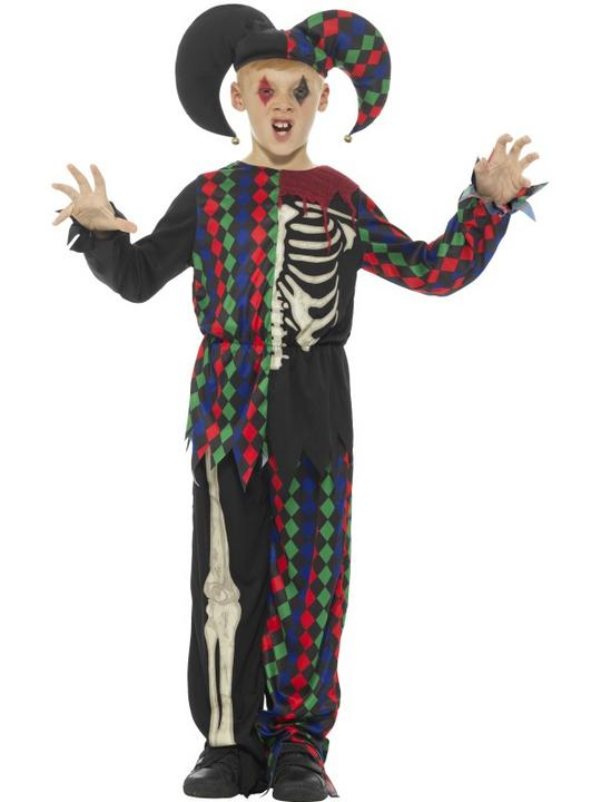 Skeleton Jester Boy's Fancy Dress Costume Thumbnail 1