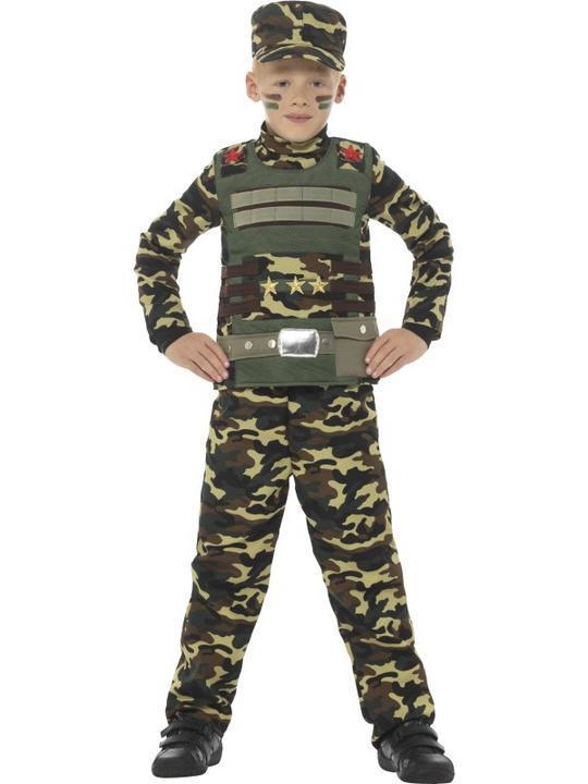 Camouflage Military Boy Fancy Dress Costume Thumbnail 1