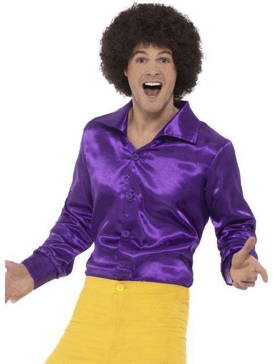 60'S Shirt Purple Men's Fancy Dress Costume Thumbnail 1