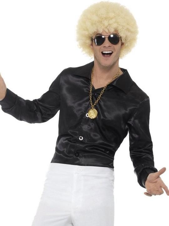 60's Shirt Black Men's Fancy Dress Costume Thumbnail 1