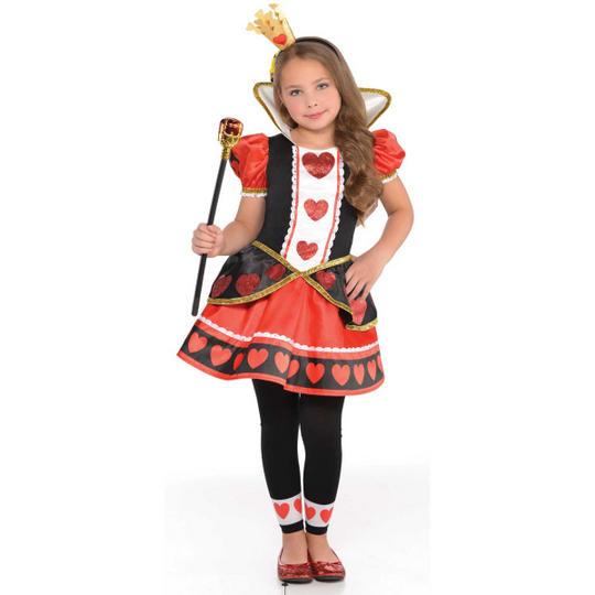 Girls queen of hearts costume kids school book week fancy dress alice outfit Thumbnail 1