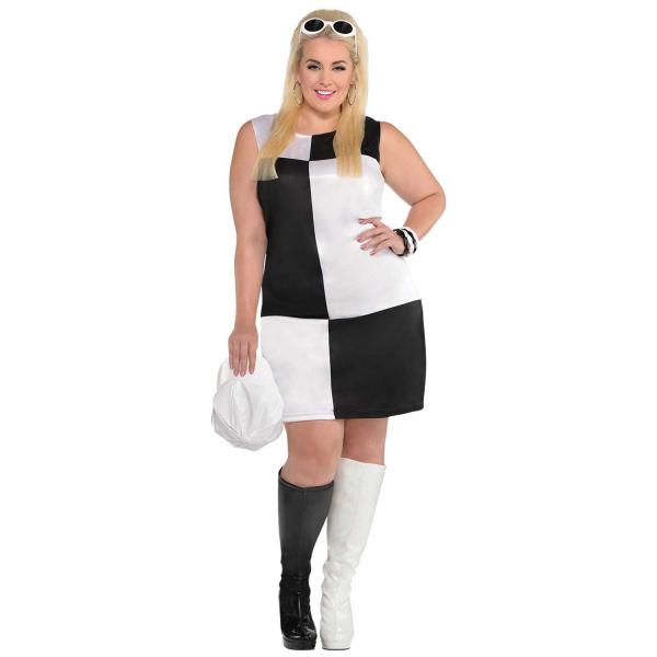 Mod Girl Womens Plus Size Fancy Dress Costume