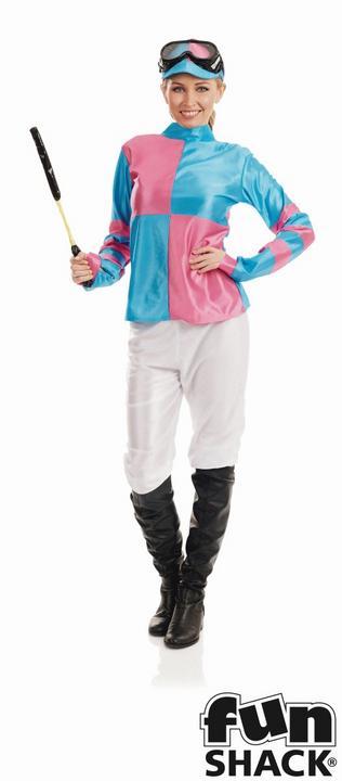 Pink And Blue Jockey Women's Fancy Dress Costume Thumbnail 1