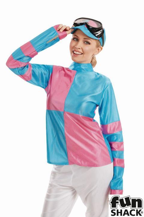 Pink And Blue Jockey Women's Fancy Dress Costume Thumbnail 2