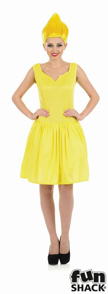 Yellow Neon Pixie Women's Fancy Dress Costume