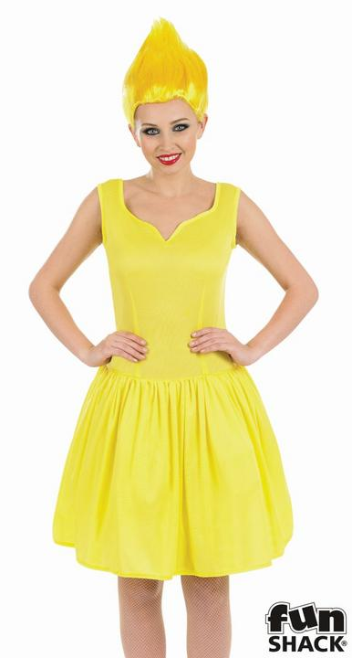 Yellow Neon Pixie Women's Fancy Dress Costume Thumbnail 2