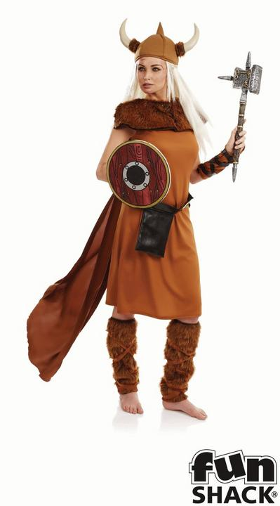Viking Lady Women's Fancy Dress Costume Thumbnail 1