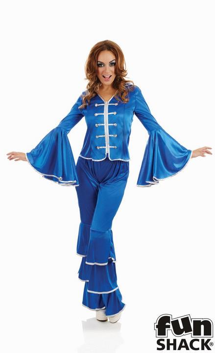 Blue Dancing Queen Women's Fancy Dress Costume Thumbnail 1