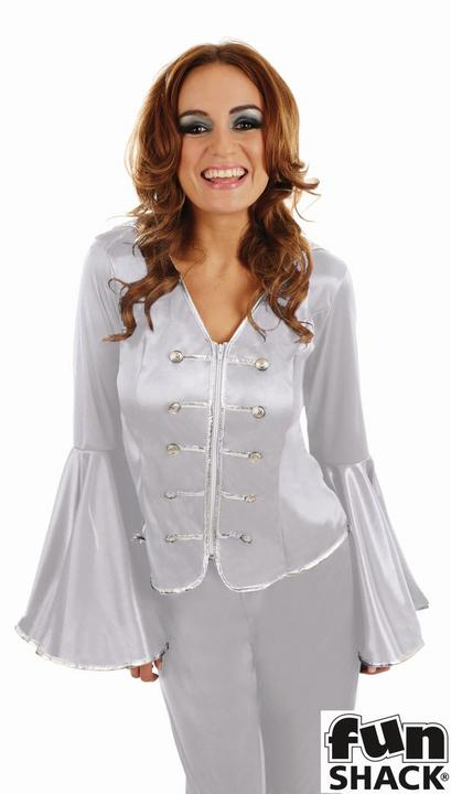 Silver Dancing Queen Women's Fancy Dress Costume Thumbnail 2