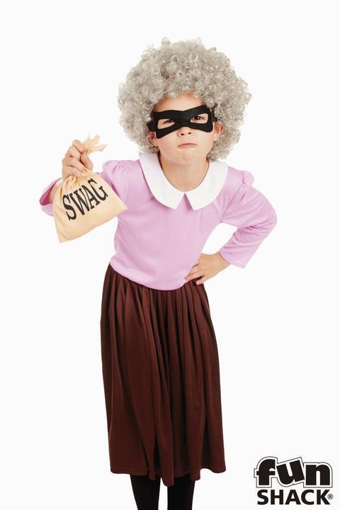 Burglar Granny Girl's Fancy Dress Costume Thumbnail 2