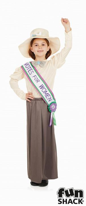 Girls Suffragette costume kids school book week fancy dress outfit historical  Thumbnail 1