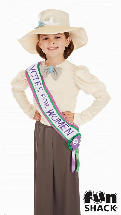 Girls Suffragette costume kids school book week fancy dress outfit historical  Thumbnail 2