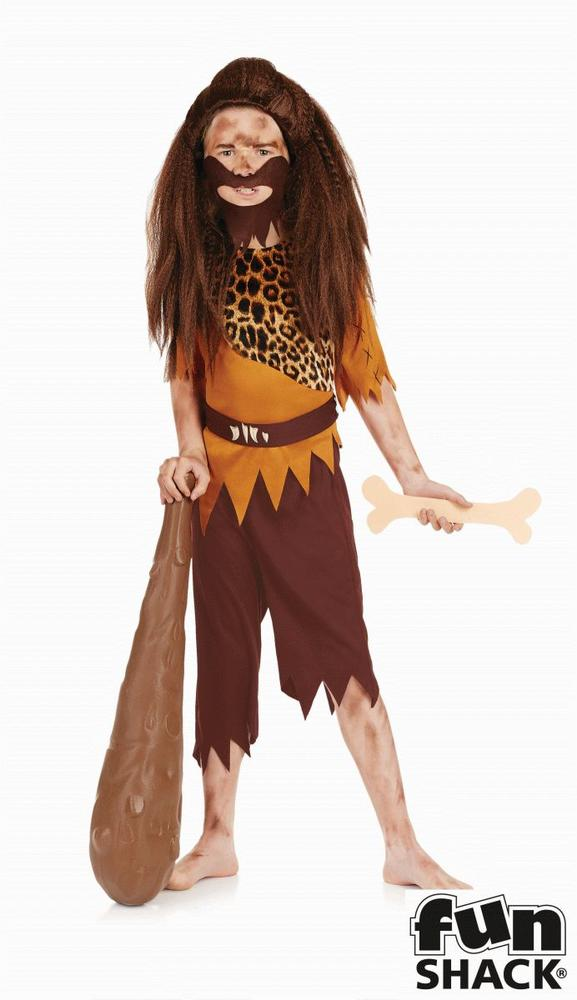Boys Stone Age Caveman Costume Kids School Book week Fancy Dress Story Outfit