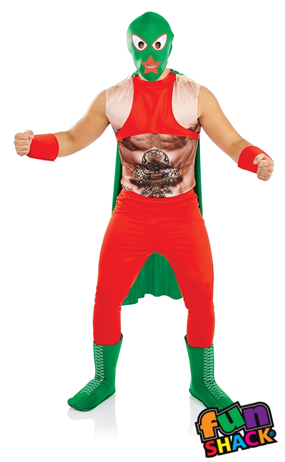 Mexican Wrestler Men's Fancy Dress Costume