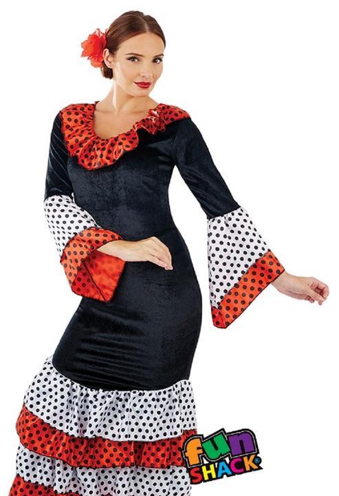 Flamenco Dancer Women's Fancy Dress Costume Thumbnail 2