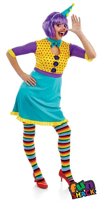 Clown Women's Fancy Dress Costume Thumbnail 1