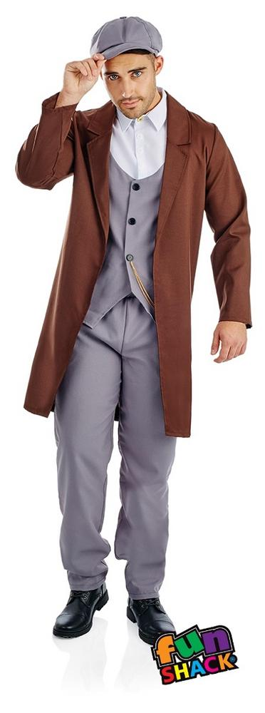 Peaked Cap Gangster Men's Fancy Dress Costume