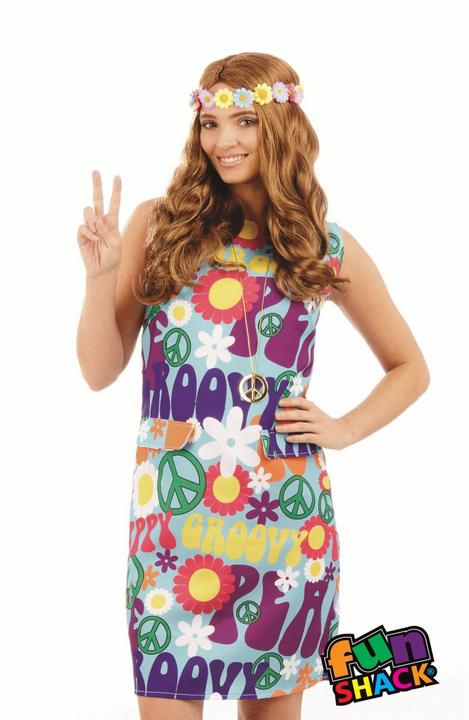 1960s 1970s Disco Diva Hippy Hippie Costume Womens Fancy Dress Ladies Outfit Thumbnail 2