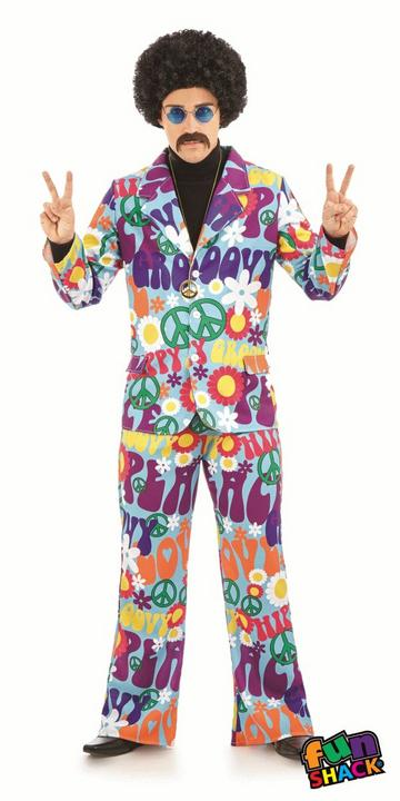 Groovy Hippie Suit Men's Fancy Dress Costume Thumbnail 2