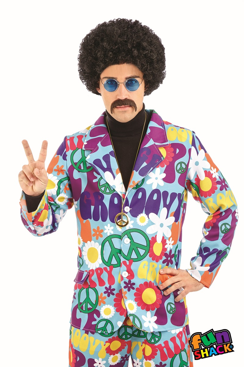 Groovy Hippie Suit Men's Fancy Dress Costume