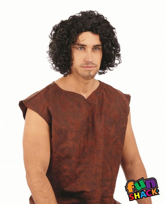Medieval Curly Black Wig Men's Thumbnail 1