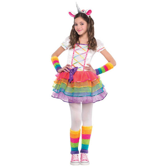 Rainbow Unicorn Girl's Fancy Dress Costume Thumbnail 1