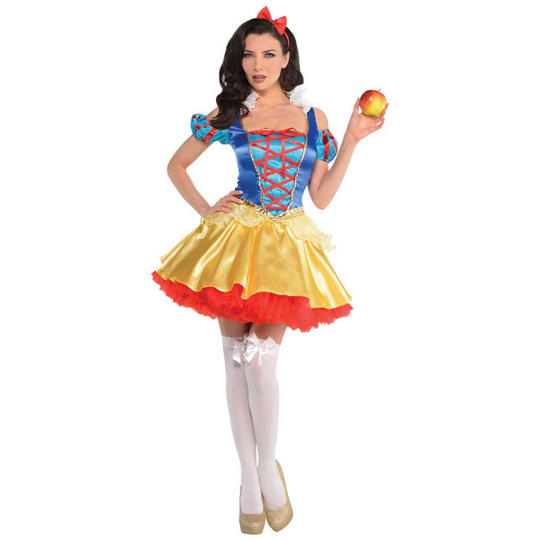 Snow White Princess Womens Costume Ladies Fancy Dress Outfit Fairytale Story Boo Thumbnail 1