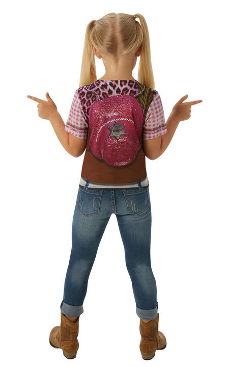 Cowgirl Tshirt Girl's Fancy Dress Costume Thumbnail 2