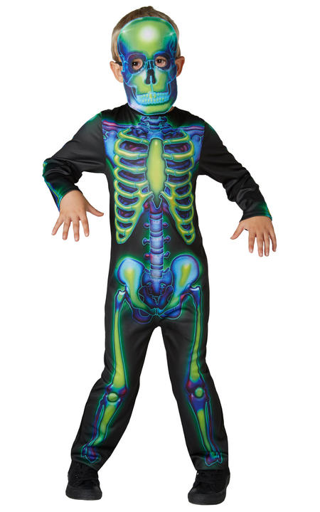 Neon Skeleton Boy's Fancy Dress Thumbnail 1