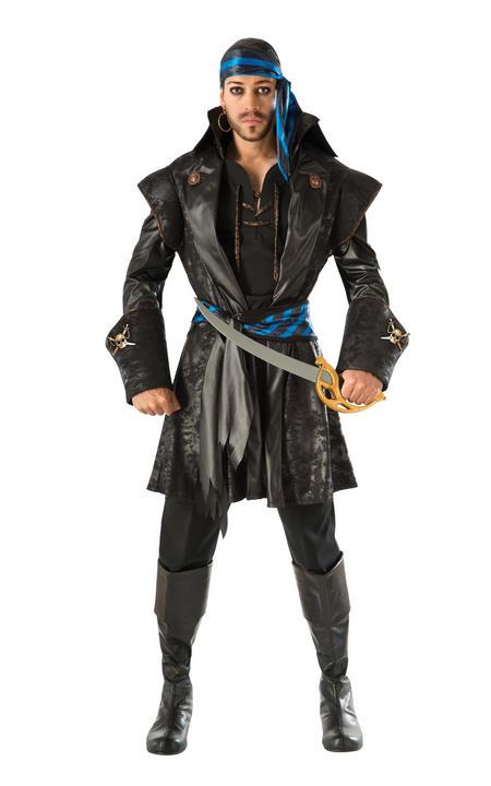 Captain Black Heart Men's Pirate Fancy Dress Costume Thumbnail 1