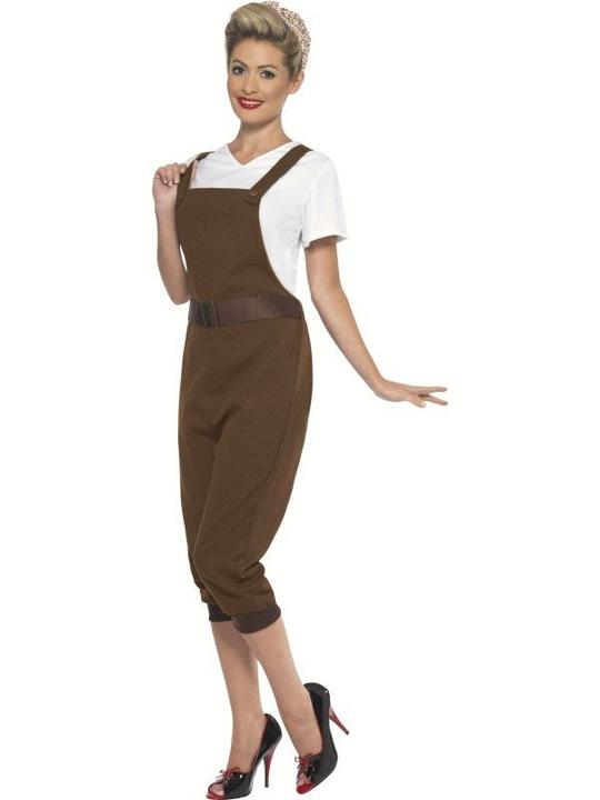 1930s-1940s Land Girl Women's Fancy Dress Costume Thumbnail 2
