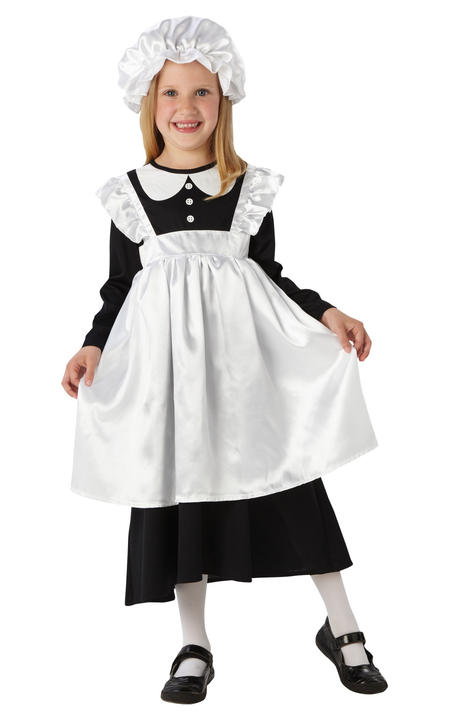 Girls Victorian Maid Costume kids school book week fancy dress outfit Thumbnail 1