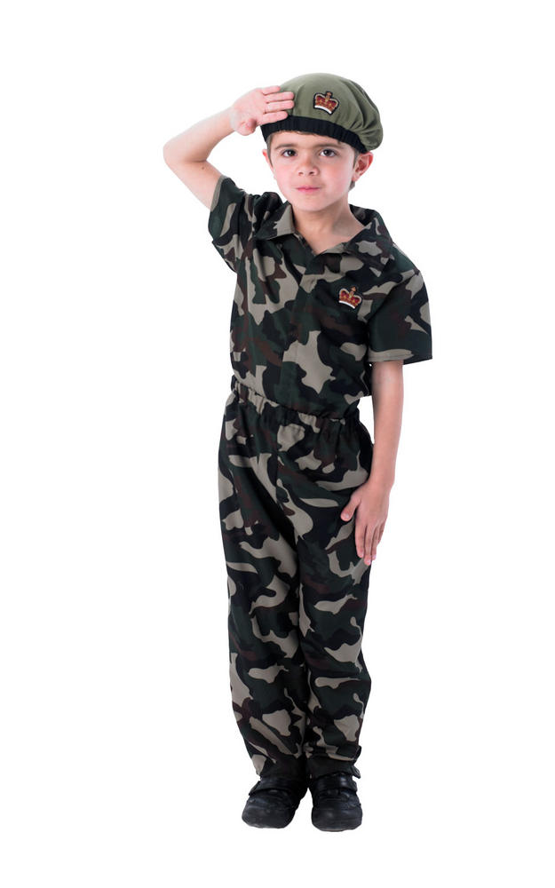 Boys Army Soldier Costume Kids School Book Week Fancy Dress Forces Outfit