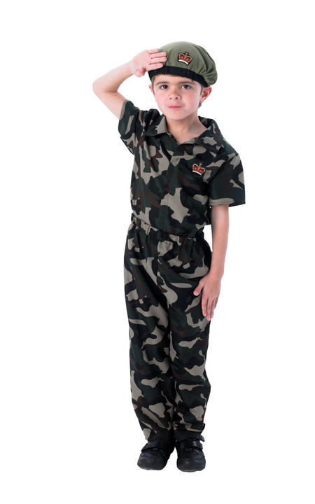 Boys Army Soldier Costume Kids School Book Week Fancy Dress Forces Outfit Thumbnail 1