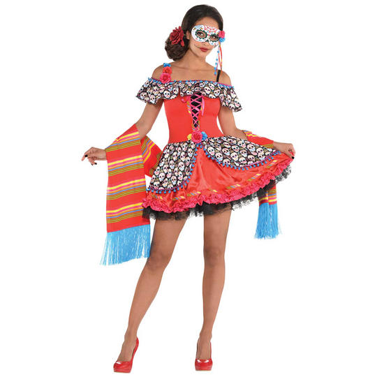 Senora Suger Skull Girl's Fancy Dress Costume Thumbnail 1