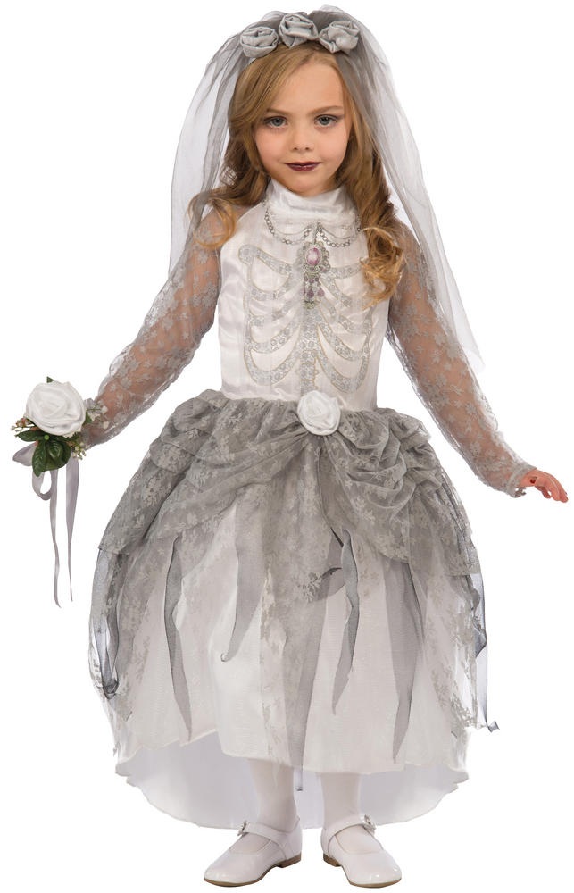 Skeleton Bride Girl's Fancy Dress Costume