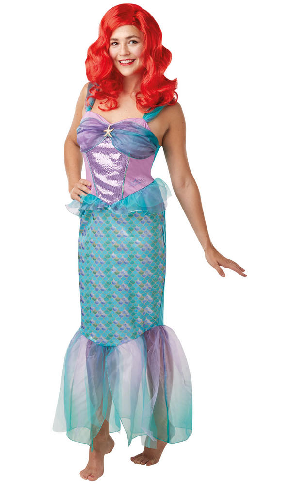 Ariel Mermaid Princess Womens Costume Disney Live Action Ladies Fancy Dress Outf
