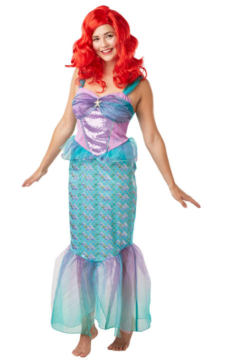 Ariel Mermaid Princess Womens Costume Disney Live Action Ladies Fancy Dress Outf Thumbnail 2
