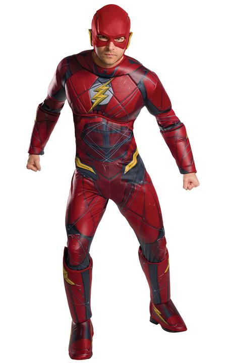 Flash Justic League Deluxe Men's Fancy Dress Costume Thumbnail 1