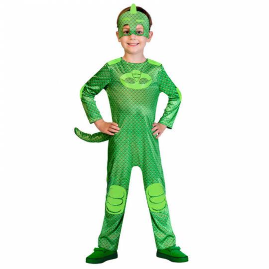 Kids PJ Masks Gecko Pyjama Superhero Fancy Dress Costume Childs Outfit  Thumbnail 1