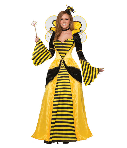 Queen Bee Costume Womens Ladies Fancy Dress Outfit Animals insects party  Thumbnail 1