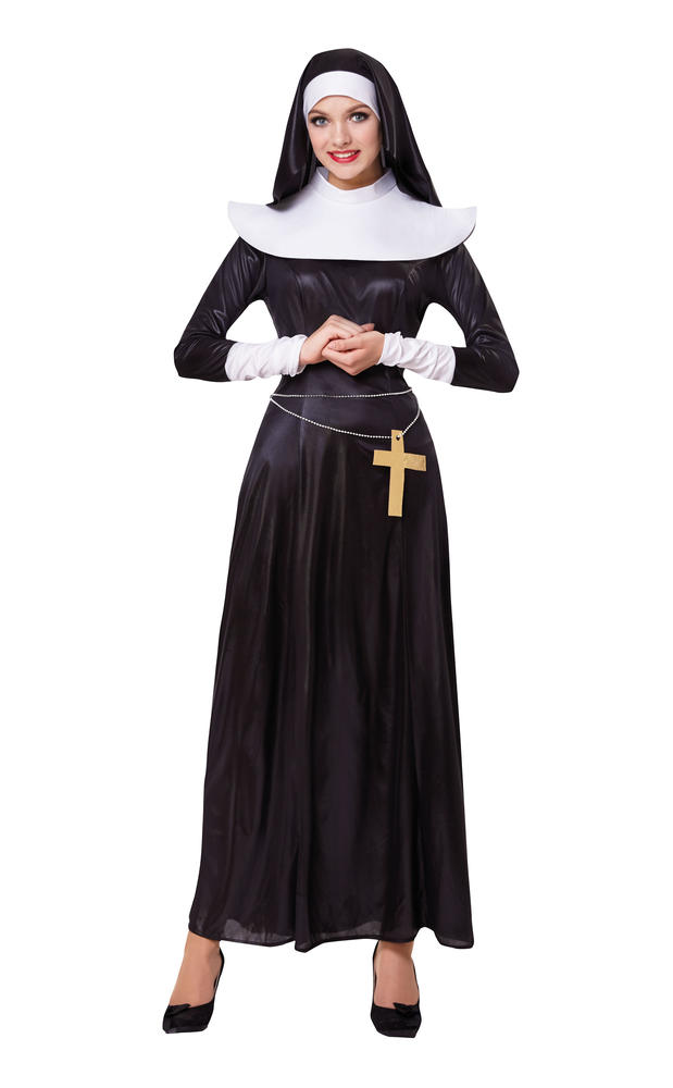 Nun Costume Womens ladies Fancy Dress Holy Religious Habit Outfit Dressup Hen