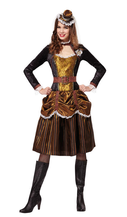 Steampunk Womens Costume Ladies Fancy Dress outfit Victorian Dressup Party Thumbnail 1
