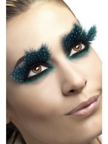 Eyelashes, Large Feather with Aqua Dots Thumbnail 1