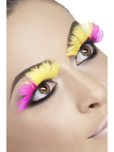 Eyelashes, Pink and Yellow Feather Thumbnail 1
